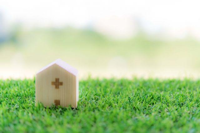 芝生の上に置かれた病院の置物
